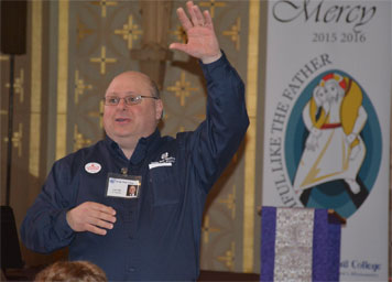 Len Uhal speaking at annual vocation day