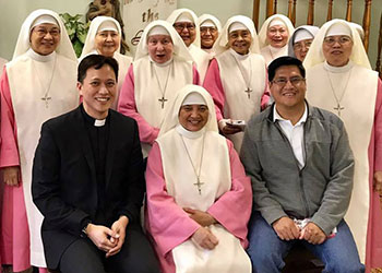 Fr. Paul Aquino, SVD and Fr. Jesus Mata, SVD visit with the Pink Sisters
