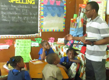 Divine Word Missionary teaching in a classroom