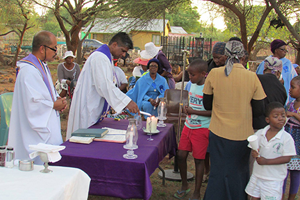 Fr. Shiju Paul celebrates Mass in a primative setting
