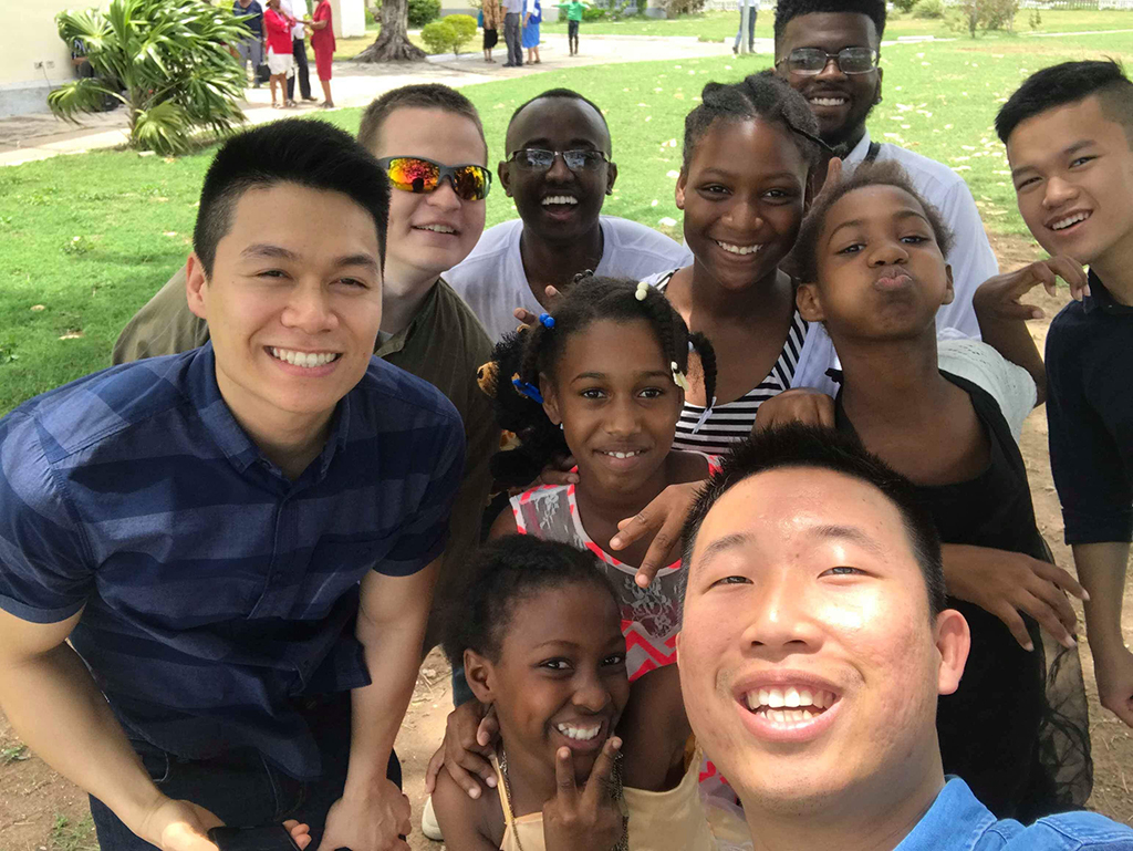 Selfie with local kids in Jamaica