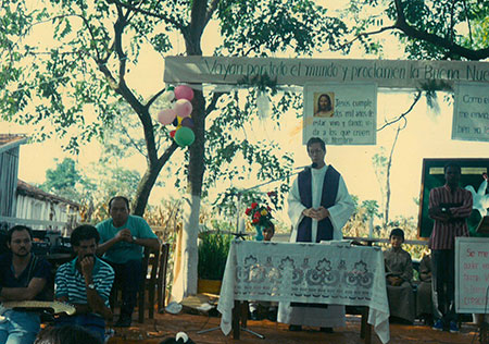 Fr. Sam Cunningham, SVD, celebrates Mass in small parish in Paraguay